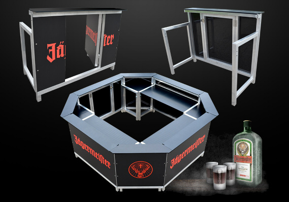 KlappBar, mobile Theken, mobile Bars, zusammenlegbare Bars,